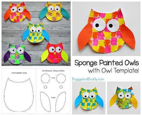 sponge painted owl craft for with owl template 674 | owl horiz.