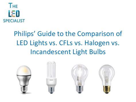 incandescent vs halogen compare led cfl halogen and