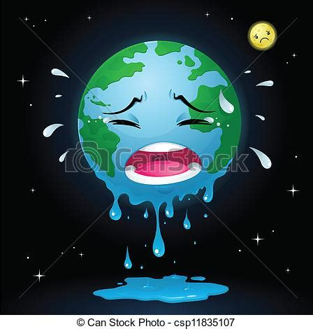 vector clipart  crying earth  illustration