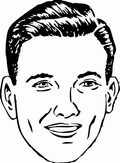 Face Clip Outline Male Clipart Head Normal