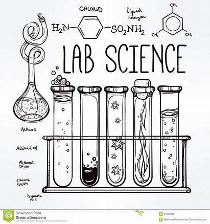 Science Lab Sketch Drawn Equipment Icons Deckblatt