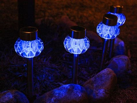aqua blue solar stake lights set of 4 tools garden