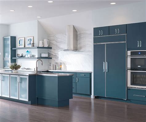 white cabinets   blue kitchen island masterbrand