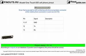 Alcatel One Touch 835 Cell Phone Pinout Diagram   Pinouts Ru