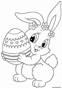 Coloriage De Paque : coloriage lapin de paques avec un oeuf dessin ~ Melissatoandfro.com Idées de Décoration
