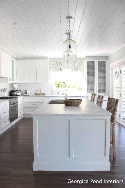 Shiplap Ceiling Kitchen by White Kitchen Cabinets White Shiplap Ceiling Wood