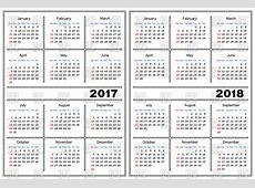 Calendar template 2017 and 2018 Vector Image – Vector