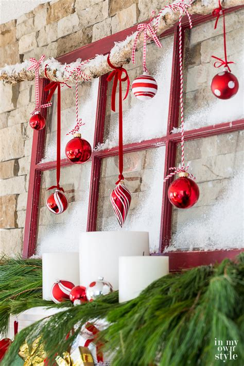 christmas mantel decorating frosted window panes