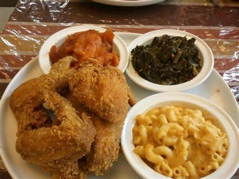 southern cooking fried chicken wing dinner w cabbage yams fried corn sweet tea delicious picture of