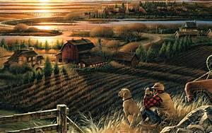 2560x1600 Best Friends, Autumn, Home, Terry Redlin, Sunset ...