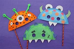 Trick Or Treat Masks : Paper Plate Monster Halloween Masks