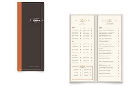 Menu Brochure Template Word by 8 5x11 A4 Menu Templates Word Publisher Templates