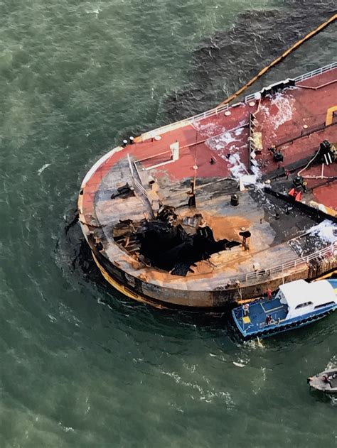 oil cleanup continues  texas  barge explosion fire