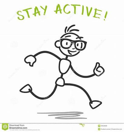 Slogan Stick Running Fitness Active Stay Healthy