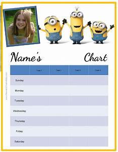 Weekly Reward Chart Free Behavior Charts With The Minions Add Your Own Photo