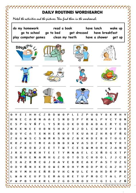 daily routines picture dictionary and wordsearch worksheet