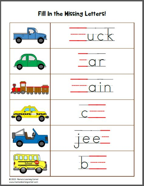 Number Names Worksheets » Preschool Transportation Worksheets  Free Printable Worksheets For