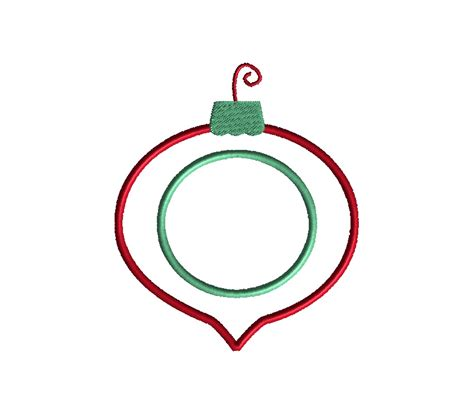 christmas bulb ornament applique machine embroidery design