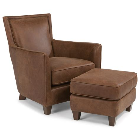 Flexsteel Leather Chair And Ottoman by Flexsteel Latitudes Kingston Contemporary Leather Chair
