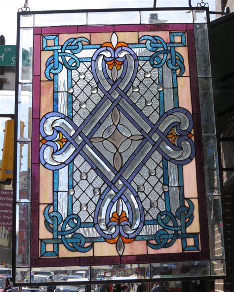 stained glass ls for sale stained glass window geometric floral design ebay