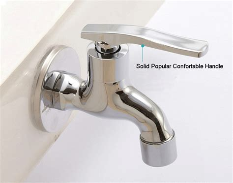 9cm length brass wall mounted cold water tap chrome plated