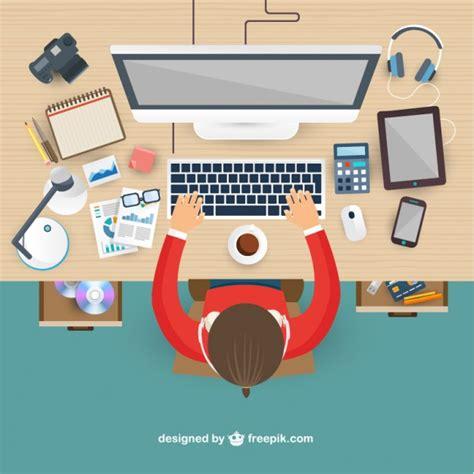 ergonomie bureau ordinateur lugar de trabajo en vista superior descargar vectores gratis