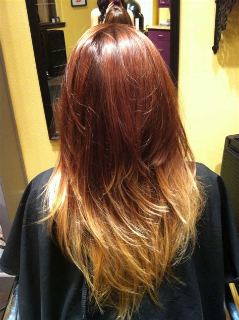Red Brown And Blonde Ombré Hair By Stephmtzxoxo
