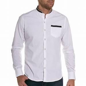 Chemise Sans Col Homme : manche longue chemise homme blanche col mao ~ Louise-bijoux.com Idées de Décoration