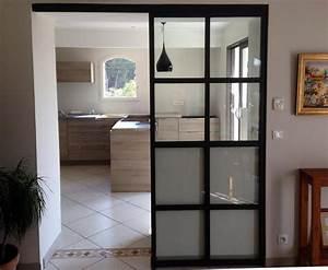 porte cloison menuiserie interieur installation With porte de garage enroulable et porte vitrée intérieure coulissante