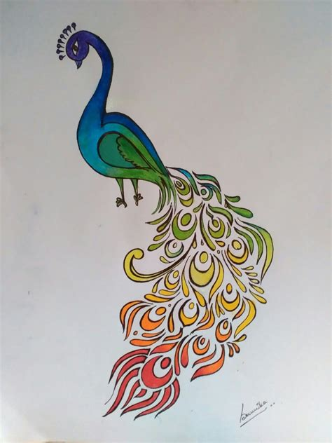 peacock abstract colorful rainbow bird india nature easy