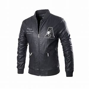 mens letter motorcycle pu leather jacket stand collar With leather jacket lettering