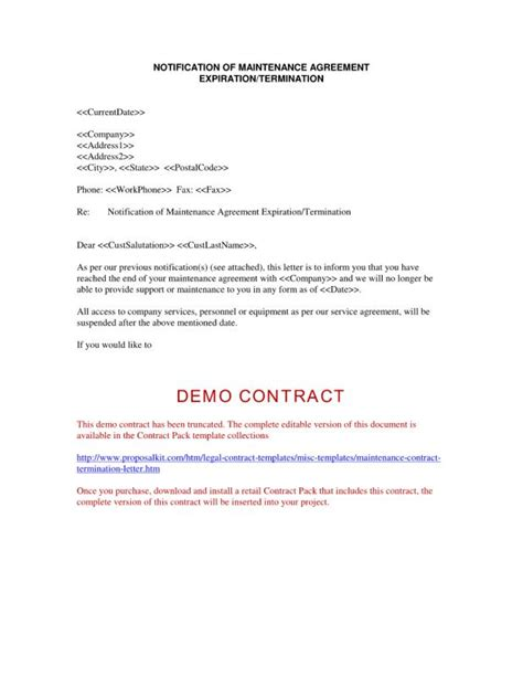 contract termination letter contract termination letter template business