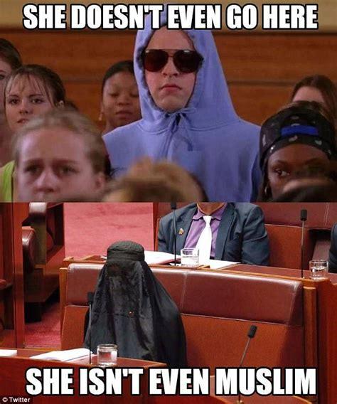 Pauline Hanson Memes - pauline hanson s burqa stunt mocked by social media users daily mail online