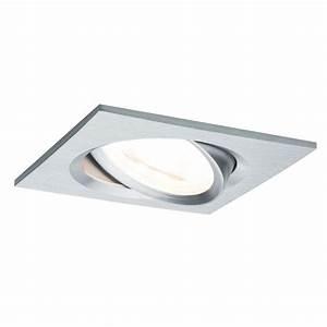 Spot LED encastrable carré orientable dimmable 220V Alu 7W GU10 Paulmann 93618