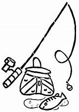 Fishing Coloring Rod Pages sketch template
