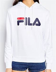 lyst fila oversized pull over hoodie with large logo in With robe pull fila