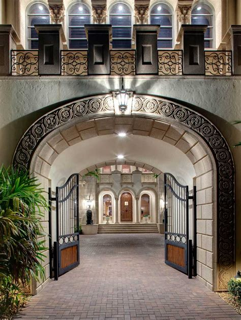 square foot naples mansion  magnificent gated courtyard entry homes   rich