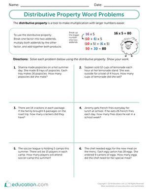 properties of multiplication distributive worksheet
