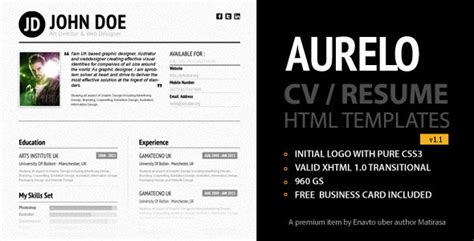 20 free and premium resume cv html website templates and