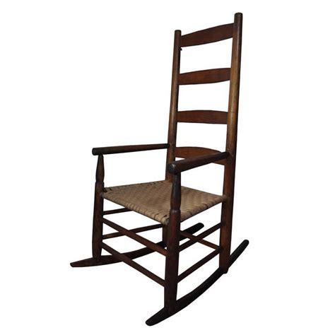 antique shaker primitive woven seat ladder back rocker rocking arm chair vtg ebay