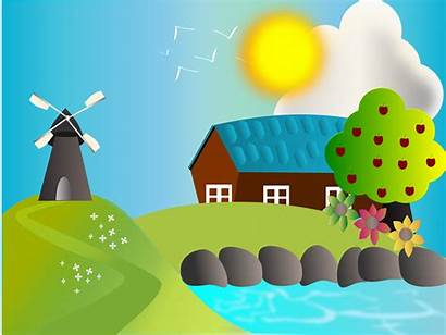 Farm Illustration Landscape Vector Graphics Lake Openclipart
