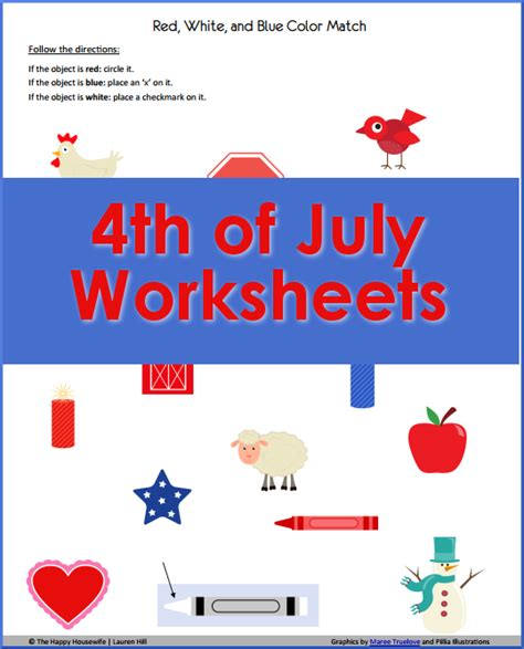 4th of july worksheets free printables the happy