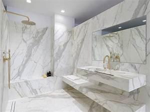 Salle De Bain Marbre Blanc : le marbre fait son come back dans les salles de bains ~ Nature-et-papiers.com Idées de Décoration