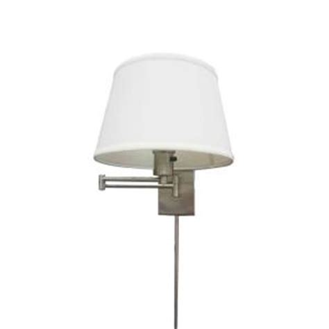 hton bay 1 light brushed nickel swing arm sconce with