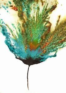 Original, Flower, Painting, Abstract, Art, Teal, Multi, 5, U00d77