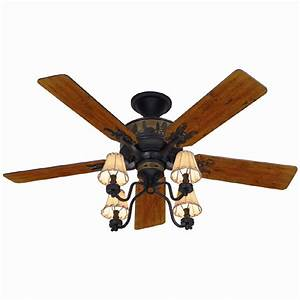 Hunter in adirondack bronze ceiling fan with light