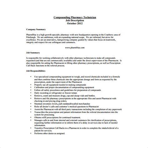 pharmacy technician job description templates
