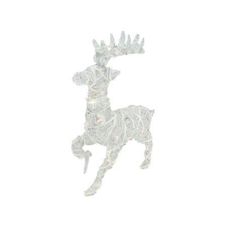 lighted white glittered rattan reindeer christmas yard
