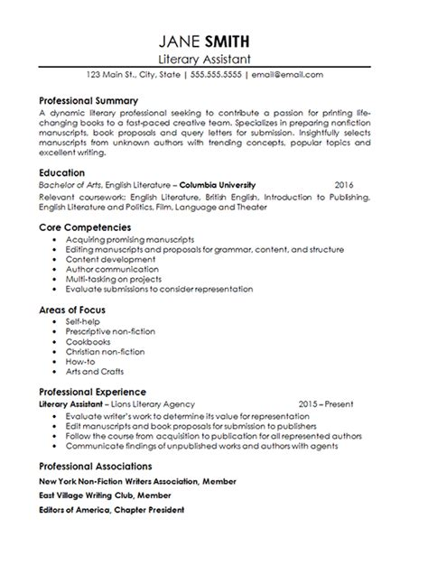 Agency Resumeagency Resume by Assistant Literary Resume Exle