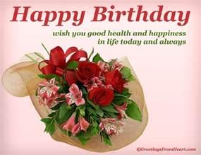 happy birthday greeting wishing health and happiness